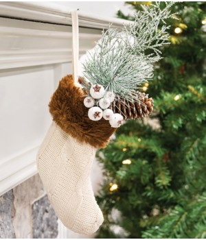Knit Cream Stocking Gift Pocket 5  l x 6.5  h in.