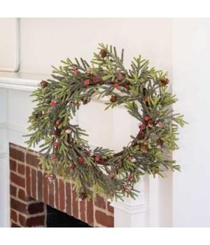 Mountain Pine Wreath w/ Red Berries, 18  18  dia in.