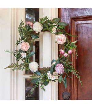 Spring Peony Wreath, 22  in.