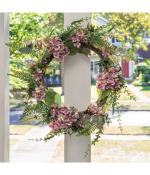 Mauve Hydrangea Wreath, 22  in.