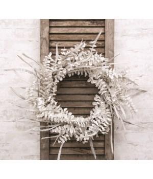 Winter White Sparkle Eucalyptus Wreath 30  h x 30  w x 6  dp. in.