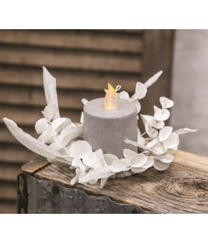 Winter White Sparkle Eucalyptus Candle Ring 2 h x 5 w x 5 dp. in.