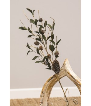 Silver Frosted Pine Cone and Leaf Spray 26  h x 8  w x 8  dp. in.