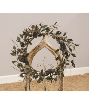 Silver Frosted Pine Cone and Leaf Wreath 17  h x 17  w x 4  dp. in.