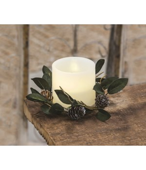 Silver Frosted Pine Cone and Leaf Candle Ring 2  h x 6  w x 6  dp. in.