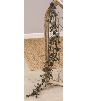 Silver Frosted Pine Cone and Leaf Garland 8 h x 48  w x 8  dp. in.