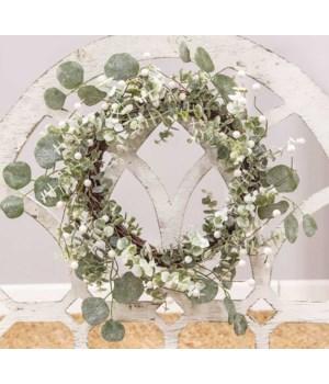 Glitter Frosted Eucalyptus Wreath 16  h x 16  w x 4  dp. in.