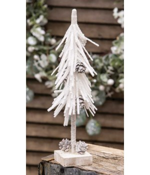 White Glittered Pinecone Tree 10  10 h x 2.5 w x 2.5 dp. in.