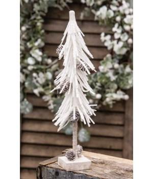 White Glittered Pinecone Tree 12  12 h x 3 w x 3 dp. in.