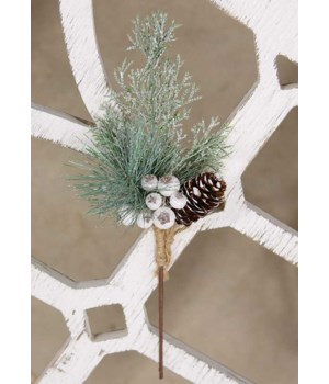 White Glittered Berry and Pinecone Pine Spray 14.5  h x 6  w x 3.5  dp. in.