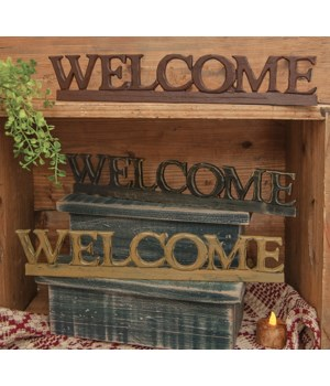 WELCOME  Resin Sign - 3 asst. 14.5 in.
