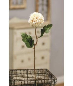 M20 Pompom Flower Stem,  White 14 l, flower is 2.5  dia in.
