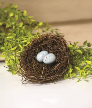 Angelvine Bird Nest With Eggs, 4.5  4.5  dia x 1.5 h in.