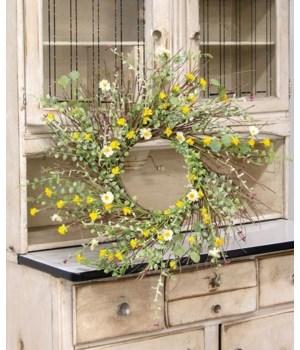 Yellow Wildflowers Wreath, 22  in.
