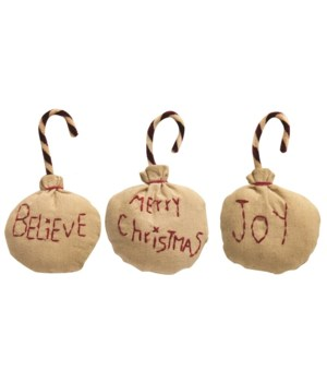 3/Set, Joy, Believe, Merry Christmas Fabric Ornaments 3  x 1  x 5.50   in.