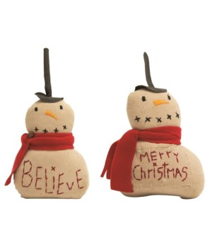Believe and Merry Christmas Fabric Snowman, set  of 2 9.5  h x 5  w in.