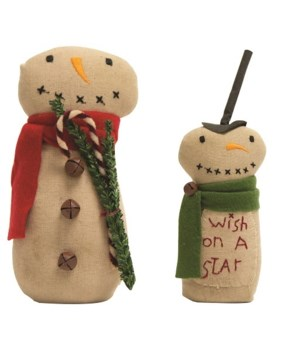 2/Set, Wish On A Star Fabric Snowmen lG: 9.5  x 3.5 , SM:7  x 3.75  in.