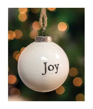 Joy White Ceramic Ornament 2.5 x 2.5 x 2.8 in.