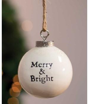 Merry and Bright White Ceramic Ornament 2.5 x 2.5 x 2.8 in.