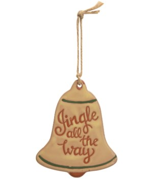 Jingle All The Way Ceramic Bell Ornament  4.5 x 3.7 x 0.2 in.