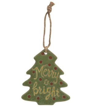 Merry and Bright Ceramic Tree Ornament 4 x 3.4 x 0.2 in.