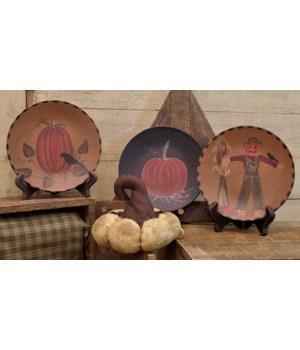 Scarecrow & Pumpkins Plate, 3 Asstd. 6 dia in.