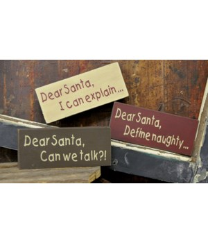 Dear Santa Stenciled Blocks - 3 asst