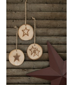 Stars Tree Tag, 3 Asstd. 2 3/4  dia in.