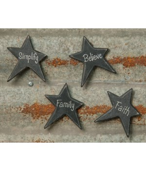 4/Set, Black Star Word Magnets 2.25 x 2.75  in.