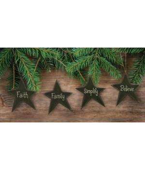 4/Set, Black Star Word Ornaments 3 x 3.5  in.