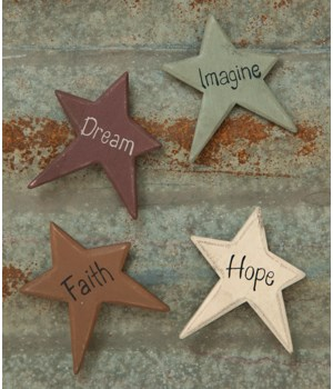 4/Set, Star Word Magnets 2.25 x 2.75  in.