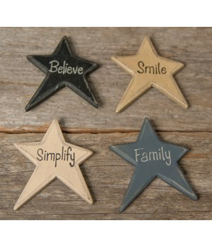 4/Set, Family Words Star Magnets 2.25 x 2.75  in.