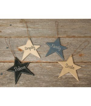 4/Set, Family Star Ornaments 3 x 3.5  in.