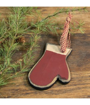Wooden Red Mitten Ornament 6 h x 4  w in.