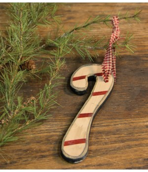 Wooden Candy Cane Ornament 7 x 1  in.