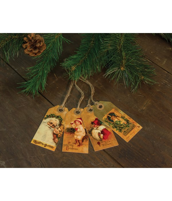 4/Set, Vintage Merry Christmas Tags 4h x 2w in.