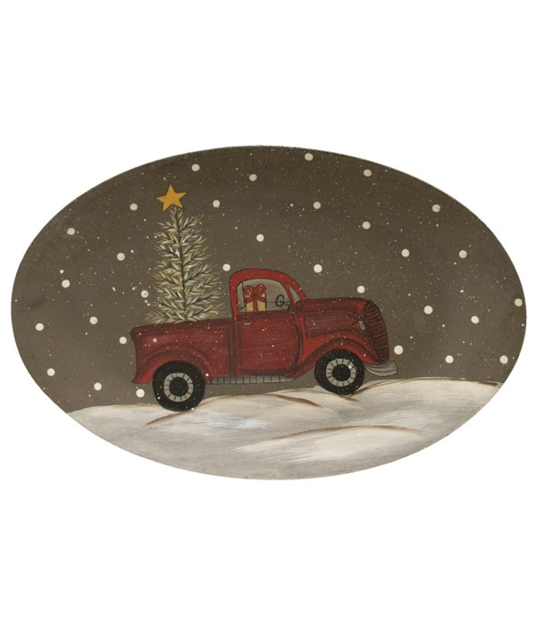 Winter Truck Oval Christmas Plate 7.25h x 11w in.
