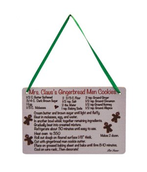 Mrs. Claus's Cookies Recipe Ornament 2.75h x 4w in.
