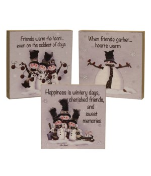 Friends Warm the Heart Block Sign, 3 Asstd. 6 sq in.