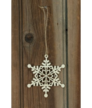 24/Set, Wooden Snowflake Ornaments 3.5 in.