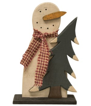 Wooden Frosty and Tree 7.25h x 4.50 w in.