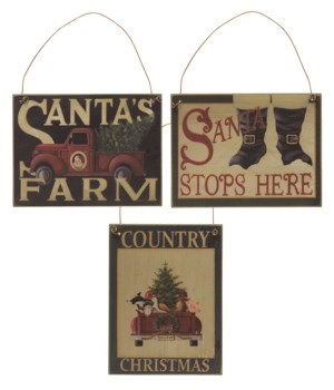 Santa's Farm Ornament - 3 asstd. 3w x 4 h in.