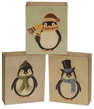 Penguin Box Sign 3-asst 4.5  w x 6  h in.