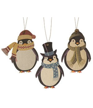 3/Set, Wooden Penguin Ornaments 4.5  h x 3  w in.