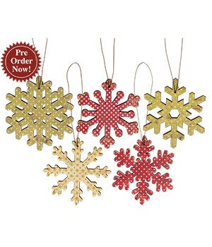 Vintage Snowflake Ornament S/5- 3 .. 3 in.