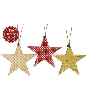 6/Set, Vintage Star Ornaments, 3  3 in.