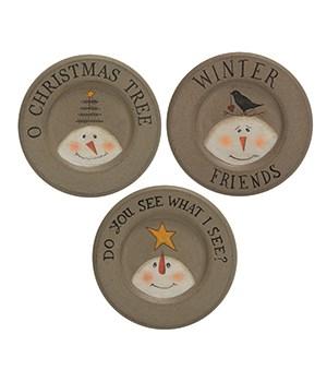 O Christmas Tree Plate, 3 Asstd. 6 dia in.