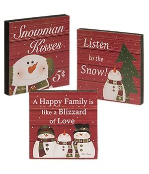 Snowman Kisses Blocks, 3 asstd 4 sq in.