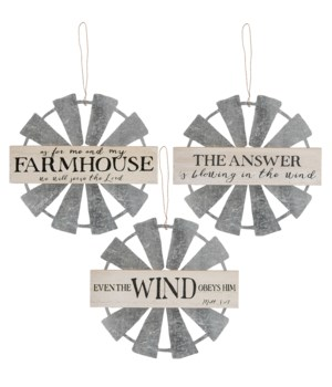 Farmhouse Windmill Hanging Wall Sign, 3 Asstd. 9 x .33 x 9 in.