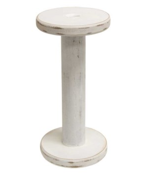 Farmhouse White Spool Candle Holder, 10.75  10.75  x 5.5  x 5.5  in.